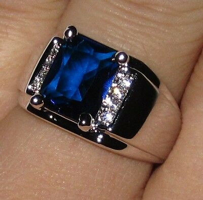 Nice Classic Handmade Mens 925 Silver Blue Sapphire Band Gem Ring Size 9-11 Gift