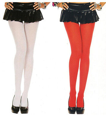 Music Legs 747 Tights Opaque Pantyhose Nylon Plus Size 1X Queen White or Red