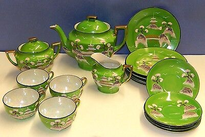 Antique 18 Piece Japanese Porcelain Tea Set Tt Takito Green Moriage Dragonware