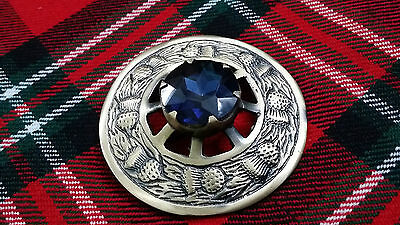 "New Kilt Fly Plaid Brooch Blue Stone Antique Finish 3""/Fly Plaid Brooch Thistle"