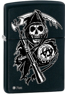 Zippo Sons of Anarchy SAMCRO Reaper Black Matte Windproof Lighter 28504 NEW