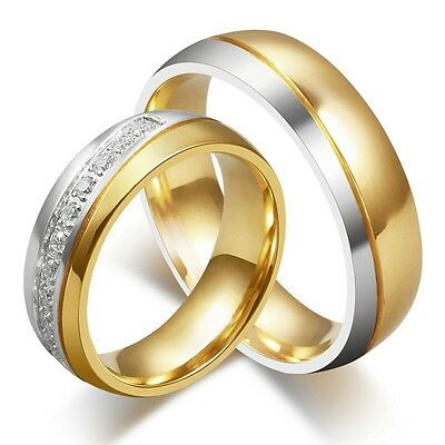 CZ Couple Titanium Steel Ring Men/Women's 18K Gold Plated Wedding Band Size 5-13