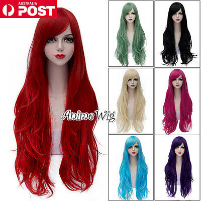 Lolita Magenta/Green/Grey/Red Long 80CM Wavy Fashion Party Women Cosplay Wig