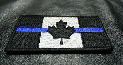 Canada Flag Police Thin Blue Line Tactical Swat Morale Hook Loop Patch