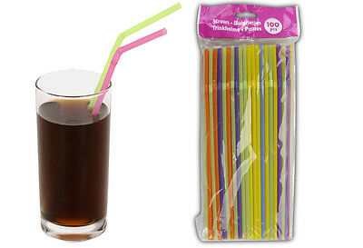 100 x ASSORTED COLOURED BENDY PLASTIC PARTY DRINKING STRAWS PARTY BBQ HAWAIIAN