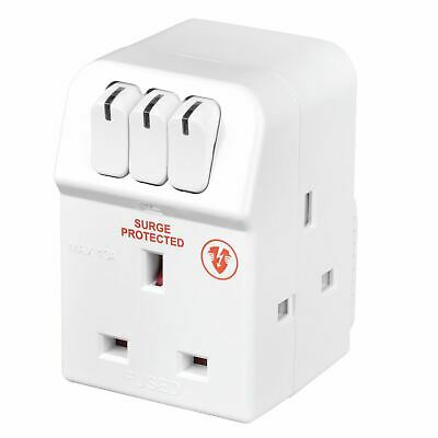 Masterplug MSWRG3-MP 13 A 3-Socket Indoor Power Surge Protected Adapter - White