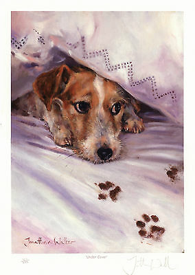 """JACK RUSSELL TERRIER PARSON DOG FINE ART LIMITED EDITION PRINT - """"Under Cover"""""""
