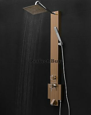 "50"" Wall Mount Shower Tower Panel Rainfall Style Handheld Wand Stainless Steel"