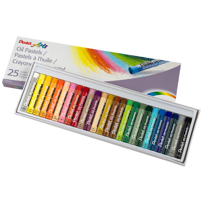 25PC Pentel Oil Pastel Crayon Sticks Arts Crafts Long Lasting Fade Resistant