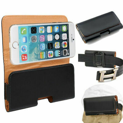 Black Horizontal Holster Belt Clip Pouch Leather Case For iPhone 6 6S 7 8 Plus