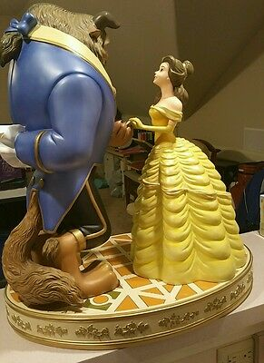 RARE Official Disney Beauty and The Beast Dancing with Rose Statues