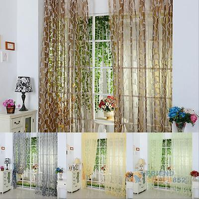 Home Decor Tulle Voile Door Window Curtain Balcony Panel Sheers Valance Drapes