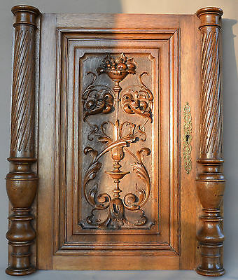 French Renaissance Carved Oak Wood Door Panel - Two Columns Pillars n°2