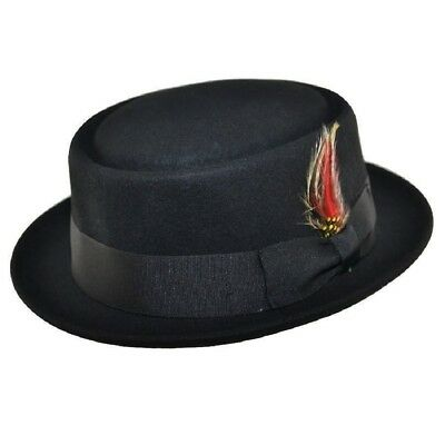 Black Superb Quality Hand Made 100% Wool Porkpie Pork Pie Hat 4 Sizes