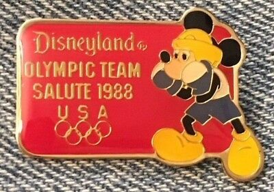 Mickey Mouse~Disney Pin~Retired~Disneyland~Team Salute~Boxing~Olympic~1988~Seoul