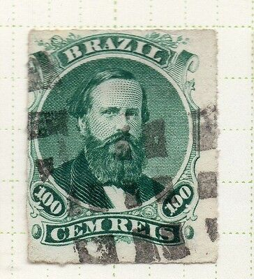 Brazil 1860s Dom Pedro Early Issue Fine Used 100r. 037042