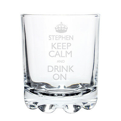 Personalised Keep Calm Whisky Glass Gift Birthday Dad Uncle Brother Grandad