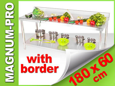 180x60 WORK TABLE WITH BORDER COMMERCIAL STAINLESS STEEL FAST FOOD