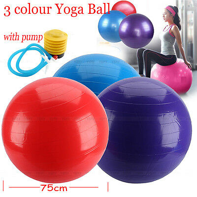 75cm Yoga Ball Anti Burst Swiss Fitness GYM Exercise Birthing Pregnancy w/ Pump