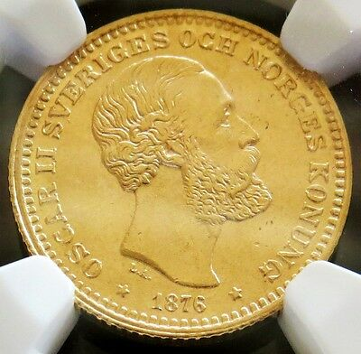 1876 Eb Gold Sweden 10 Kronor Oscar Ii Coin Ngc Mint State 63