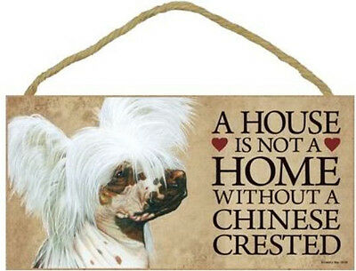 """House is Not a Home without a Chinese Crested  Wood Sign Plaque dog pet 10"""" x 5"""""""