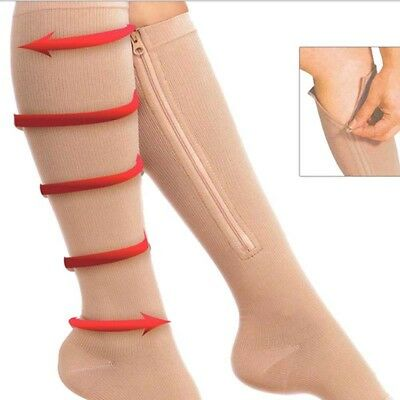 Zip Sox Compression Socks with Zipper Supports Leg Knee Stockings Open Toe A20