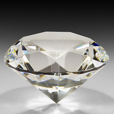 Crystal Clear Paperweight Faceted Cut Glass Giant Diamond Jewel Decor Craft 60mm