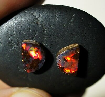 Super Bright Gem Australian Boulder Opal Matching Stones *Red Multicolors* Video