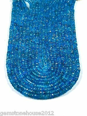 Z-0101/2 Natural Semi Precious Gemstone Neon Blue Apatite Faceted 3.50 mm Beads