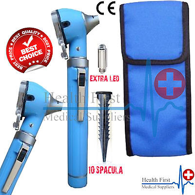 Sky Blue MINI OTOSCOPE Fiber Optic Medical Examination Diagnostic + Extra Bulb