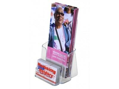 """4"""" Brochure Holder Stand with attached Card Holder Flyer Box Counter Display"""