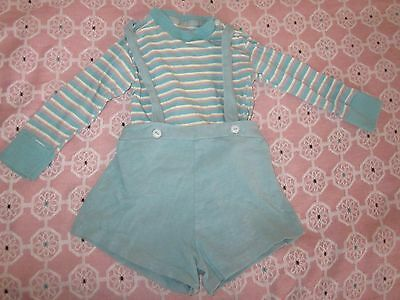 """VINTAGE TURQUOISE cotton boys LONG SLEEVE SHIRT SHORT OUTFIT 16"""" WAIST 18"""" BUST"""