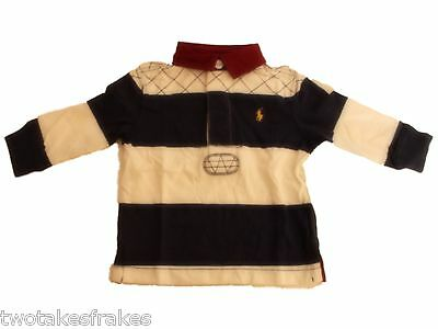 Ralph Lauren Boys Long Sleeve Blue & White Polo Top Rugby Shirt L/S Pony NEW