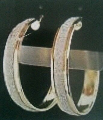 1 Pair Large Gold and Frosted Silver look Hoop Earrings Spring Racing Carnival