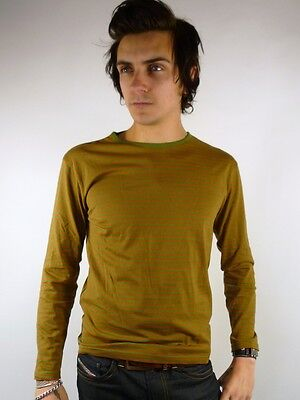 MENS STRIPE SKINNY LONG SLEEVE T SHIRT JUMPER TOP vtg L