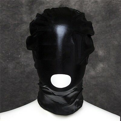 PVC Wet Leather Look Open Mouth Head Hood, Fetish Dungeon Restraint Mask