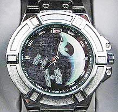 NEW in Box Star Wars Death Star Dial Watch w/ Metal Band - Tie Fighters on Face