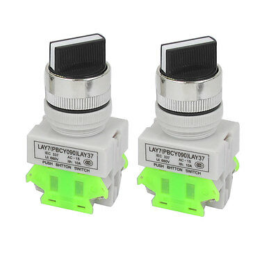 AC 660V 10A NC/NO DPST 3 Position Selector Latching Push Button Switch 2pcs
