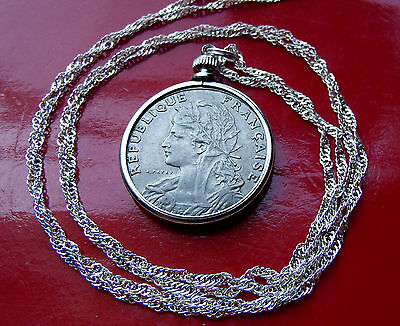 "Antique Real French Parisian Maiden Coin Pendant on a 30"" 925 Silver Wavy Chain"