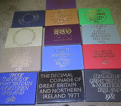 Proof Coin Covers 1971 - 1982 ROYAL MINT YEAR SET CARD COVERS GOOD CONDITION