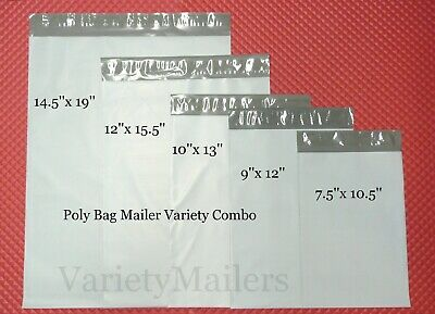 150 Poly Bag Plastic Postal Envelope Mailer Variety Combo ~ 30 each of 5 Sizes!