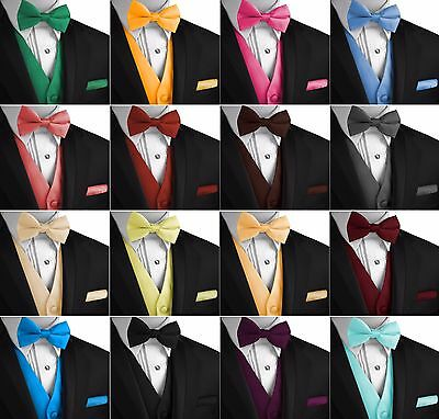 Men's Solid Satin Tuxedo Vest, Bow-Tie and Hankie Set. Formal Dress Wedding Prom