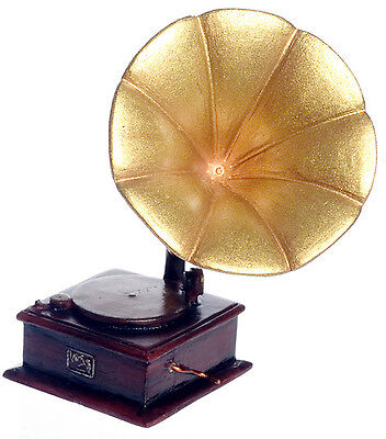 Dollhouse Miniature - Victorian Gramophone Vintage Record Player 1/12th Scale