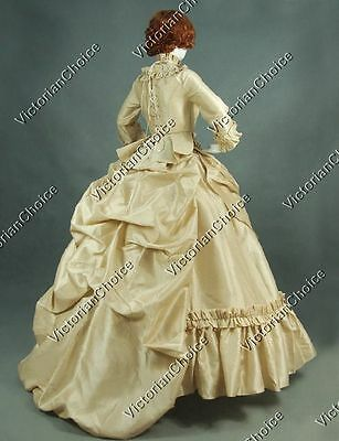 Victorian Tafetta 5PC Bustle Queen Masquerade Dress Gown Reenactment Outfit 330