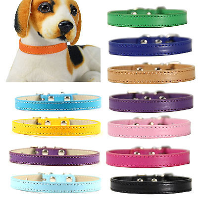 UP Cute Pet Collar Dog Kitten Pure Color Leather Cat Puppy Adjustable Buckle new
