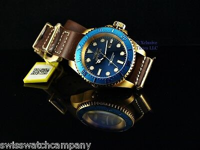 Invicta Men Army Hydromax Blue Dial Brown Army Natto Leather 18KGIP 500M Watch