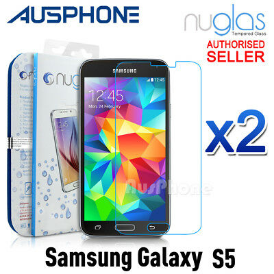 2x GENUINE NUGLAS Samsung Galaxy S5 Premium Tempered Glass Screen Protector