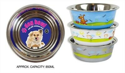 2 Dog Bowl Stainless Steel 850ml Anti Skid Colourful Design Pet Food Water