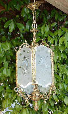 French Antique Gilded Bronze & Cut Glass Ceiling Lamp Light Lantern