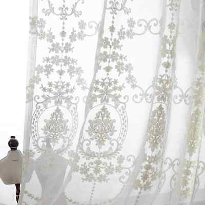 Good Quality Cotton Linen Country Floral Embroidered Window Curtains Panel